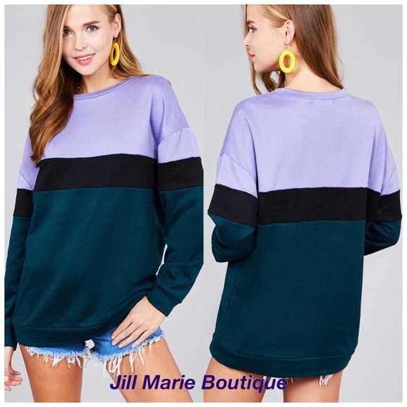Jill Marie Boutique Sweaters - Color block teal & lilac oversized sweatshirt NWT